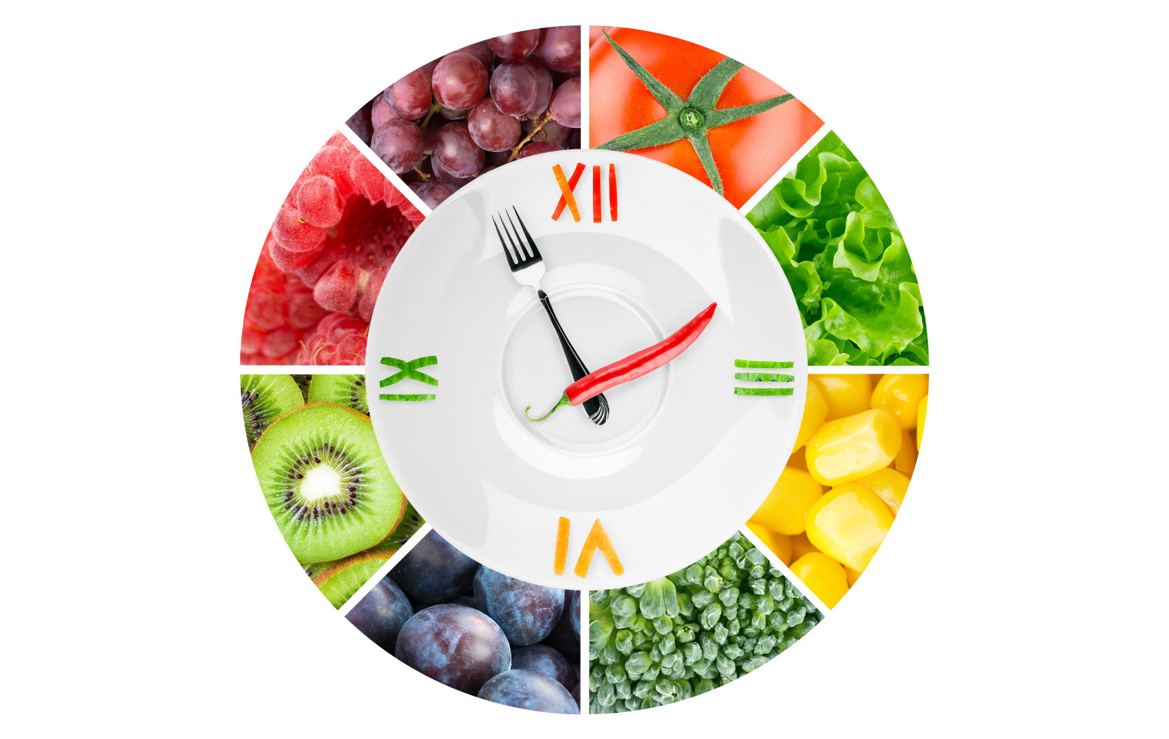 weight loss / clock w fruits and veggies/Nutrition Gone Wild