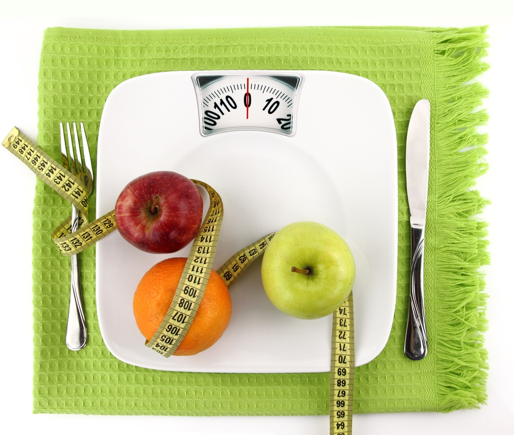 weight loss /scale w tape measure and fruits/Nutrition one Wild
